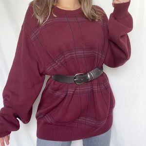 plaid burgundy oversized sweater